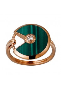 amulette de cartier pink gold ring malachite diamond B4214300 replica