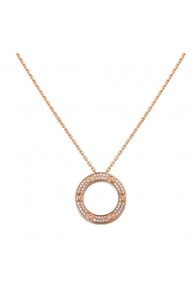 cartier love necklace pink Gold paved with diamonds pendant replica