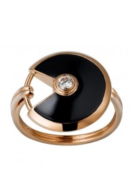 amulette de cartier pink gold ring black onyx diamond B4214800 replica
