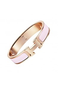 Hermes clic H bracelet pink gold narrow sugar pink enamel replica