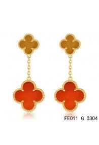Van Cleef & Arpels Yellow Gold Magic Alhambra 2 Stone Combinatio Motifs Earclips