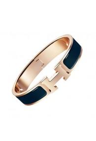 Hermes clic H bracelet pink gold narrow Biarritz blue enamel replica