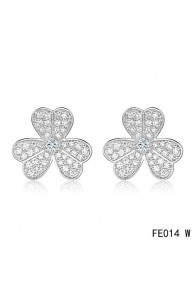 Van Cleef and Arpels Frivole Earrings White Gold Pave Diamonds
