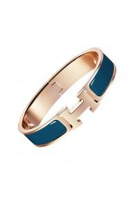 Hermes clic H bracelet pink gold narrow Genoa blue enamel replica