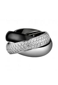 trinity de Cartier white gold ring covered diamond precision ceramics replica