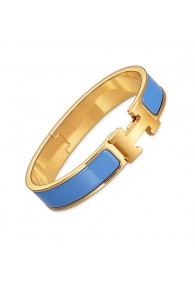 Hermes clic H bracelet yellow gold narrow transat blue enamel replica