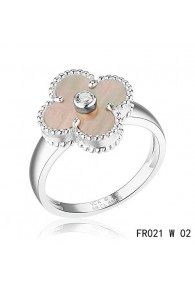 Van Cleef and Arpels Vintage Alhambra Ring White Gold Grey Mother of Pearl with Diamond