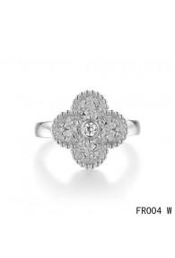 Van Cleef & Arpels Vintage Alhambra Ring,White Gold with Diamond