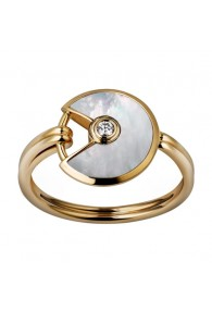 amulette de cartier yellow gold ring white mother-of-pearl diamond B4213300 replica
