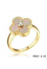 Van Cleef and Arpels Vintage Alhambra Ring Yellow Gold Grey Mother of Pearl with Diamond