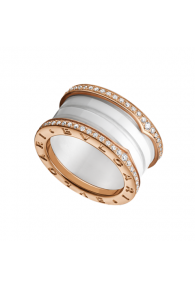 Bvlgari B.ZERO1 ring pink gold 4 band white cerami with pave diamonds AN857030 replica