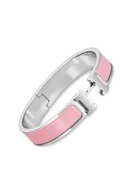 Hermes clic H bracelet white gold narrow crimson rose enamel replica
