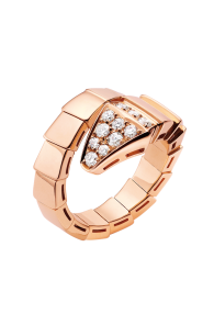 Bvlgari Serpenti ring pink gold ring paved with diamonds AN855318 replica