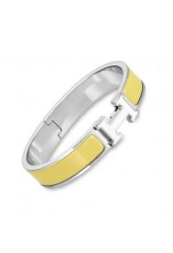 Hermes clic H bracelet white gold narrow yellow enamel replica
