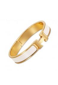 Hermes clic H bracelet yellow gold narrow white enamel replica