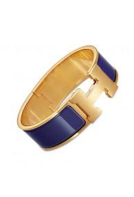 Hermes Clic Clac H bracelet yellow gold wide purple enamel replica