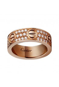 cartier love ring pink Gold covered diamond wide version replica