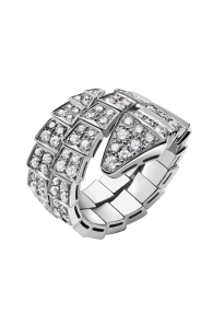 Bvlgari Serpenti ring white gold double-spiral Covered with diamonds AN855117 replica