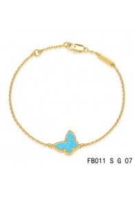 Van Cleef & Arpels Sweet Alhambra Butterfly mini Bracelet in Yellow Gold with Turquoise