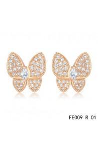 Van Cleef & Arpels Pink Gold Flying Beauties Two Butterfly Diamond Earrings