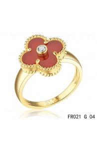 Van Cleef & Arpels Yellow Gold Vintage Alhambra Carnelian Ring with Diamond