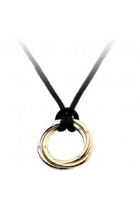 trinity de Cartier necklace 3-gold pendant black rope diamond pendant replica