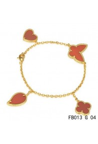 Van Cleef & Arpels Lucky Alhambra Yellow Gold Bracelet with 4 Carnelian Motifs