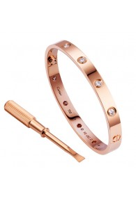 cartier love bracelet pink gold plated real with 10 Diamonds replica
