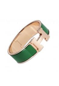 Hermes Clic Clac H bracelet pink gold wide pine green enamel replica