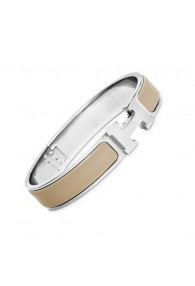 Hermes clic H bracelet white gold narrow candied chestnut enamel replica