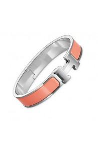 Hermes clic H bracelet white gold narrow salmon pink enamel replica