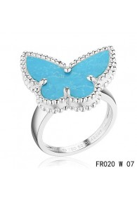 Van Cleef and Arpels Lucky Alhambra Butterfly Ring White Gold with Turquoise
