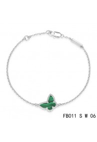Van Cleef & Arpels Sweet Alhambra Butterfly mini Bracelet in White Gold with Malachite