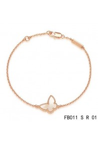 Sweet Alhambra Butterfly Bracelet in Pink Gold with White Mother-of-peral