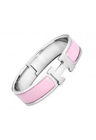 Hermes clic H bracelet white gold narrow sugar pink enamel replica