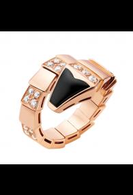 Bvlgari Serpenti ring pink gold onyx paved with diamonds AN855315 replica