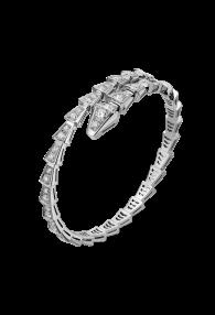 Bvlgari Serpenti Bracelet white gold Single helix Covered with diamonds BR857492 replica