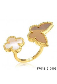 Van Cleef Arpels Yellow Gold Lucky Alhambra Between the Finger Ring Stone Combination