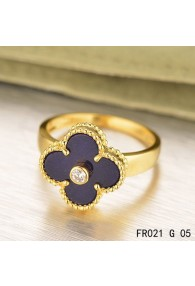 Van Cleef & Arpels Yellow Gold Vintage Alhambra Ring Lapis lazuli with Diamond