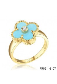 Van Cleef & Arpels Yellow Gold Vintage Alhambra Ring Turquoise with Diamond