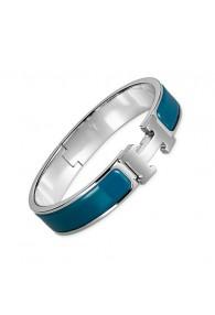 Hermes clic H bracelet white gold narrow deep blue enamel replica