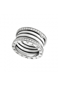 Bvlgari B.ZERO1 ring white gold 4 band with pave diamonds AN857023 replica