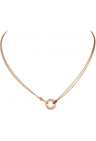 cartier love necklace pink Gold with 2 Diamonds double stranded pendant replica
