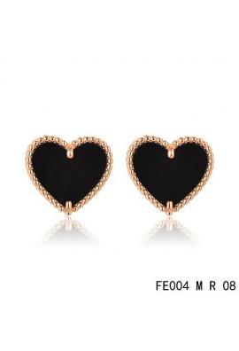 Van Cleef & Arpels Pink Gold Sweet Alhambra Black Onyx Heart Earstuds
