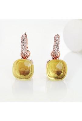 EARRINGS IN ROSE GOLD WITH LEMON,AMETHYST,BLUE,WHITE TOPAZ AND ZIRCON