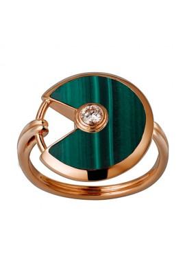 amulette de cartier pink gold ring malachite diamond B4214300 replica