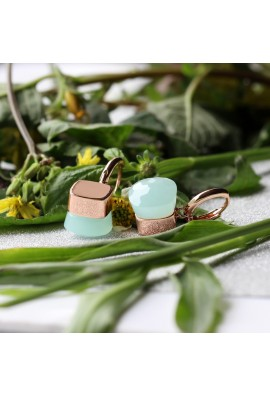 EARRINGS IN ROSE GOLD WITH SYNTHETIC JADE