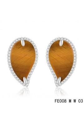 Van Cleef & Arpels White Gold Lucky Alhambra Leaf Earrings Tiger's Eye