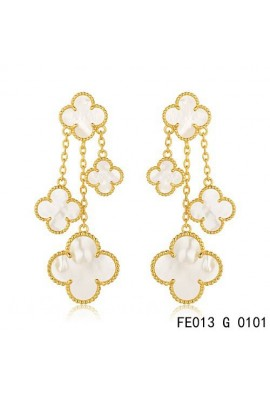 Van Cleef & Arpels Yellow Gold Magic Alhambra Earclips,White Mother of Pearl 4 Motifs