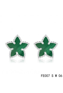 Van Cleef and Arpels White Gold Lucky Alhambra Malachite Star Earstuds